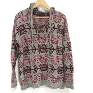 American Eagle Grey Aztec Hooded Sweater AEO